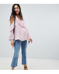 ASOS - Cold Shoulder Blouse With V-neck And Ruffles - Lyst