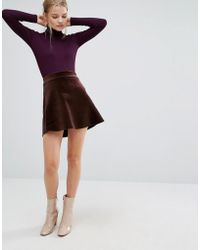 First & I - Velvet Skater Skirt - Lyst