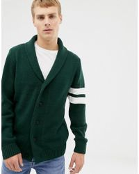 New Look - Cardigan With Collegiate Detail In Khaki - Lyst