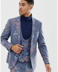 ASOS - Giacca da abito skinny in misto lana blu con stampa a fiori - Lyst
