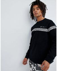 Mennace - Oversized Sweatshirt With Checkerboard Panel - Lyst