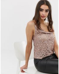 3fd7174d950c02 ASOS - Embellished Sequin Cami Top With Cowl Neck - Lyst