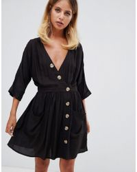 ASOS - Casual Mini Dress With Pocket & Side Buttons - Lyst