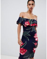 c86585a27fcd AX Paris Off The Shoulder Mini Dress in Red - Lyst