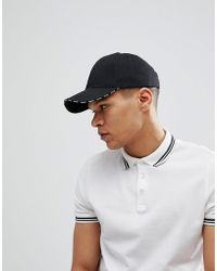ASOS - Baseball Cap In Black With Maybe Slogan At Peak - Lyst