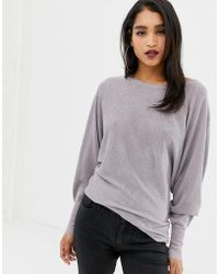 Lipsy - Metallic Sweater In Pale Mauve - Lyst