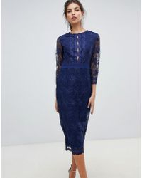 Little Mistress - Sheer Mid Length Sleeve Embroidered Mesh Pencil Dress With Scallop Edging Ves. - Lyst