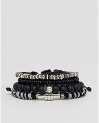 ASOS - Design Monochrome Bracelet Pack With Beads - Lyst