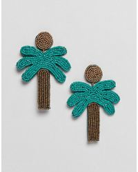 Mango - Palm Tree Earrings In Multi - Lyst