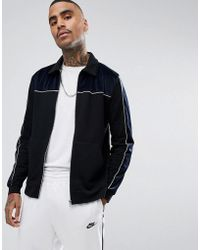 ASOS DESIGN - Velour Cut & Sew Harrington Jersey Jacket - Lyst