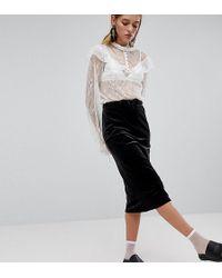 Monki - Ribbed Velvet Midi Skirt - Lyst