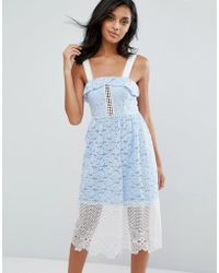 River Island - Embroided Lace And Mesh Midi Dress - Lyst