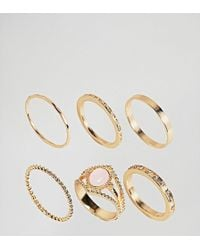 ASOS - Asos Design Curve Exclusive Pack Of 6 Vintage Style Rings In Gold - Lyst