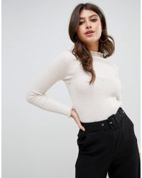 Fashion Union - Slim Fit Sweater In Rib With Crinkle Hem - Lyst
