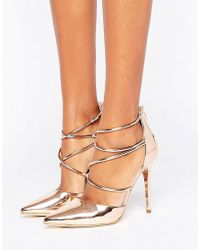 Office - Spears Rose Gold Cross Strap Heeled Shoes - Lyst