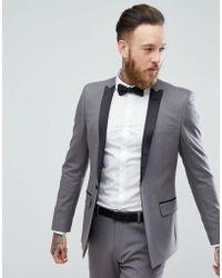 ASOS - Skinny Tuxedo Jacket In Gunmetal Grey - Lyst