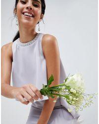 ASOS - Design Bridesmaid Pearl Trim Crop Top Maxi Dress - Lyst