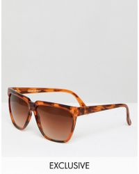 Reclaimed (vintage) - Inspired Square Sunglasses In Tort - Lyst