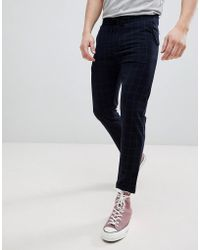 Pull&Bear - Tailored Trouser In Navy Check - Lyst