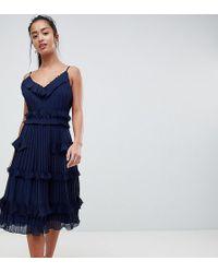True Decadence - Premium Pleated Ruffle Skater Dress - Lyst
