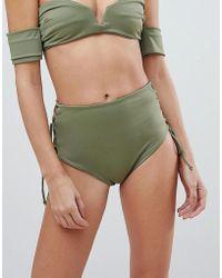 SKYE & staghorn - Skye & Staghorn High Waisted Stripe Lace Up Bikini Bottom - Lyst