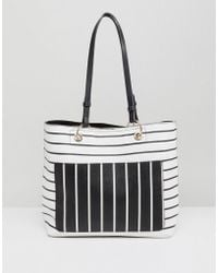 Miss Selfridge - Mixed Stripe Tote Bag - Lyst