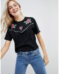 ASOS - T-shirt With Western Badges And Piping - Lyst