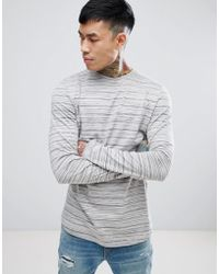 ASOS - Longline Long Sleeve T-shirt With Curve Hem In Gray Inject - Lyst