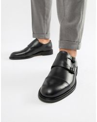 SELECTED - Leather Double Monk Strap Shoe - Lyst