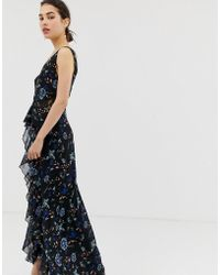 bb0e1f3a78b2 Little Mistress - Floral Lace Plunge Front Maxi Dress In Black Multi - Lyst