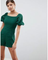 Fashion Union - Playsuit With Puff Sleeves In Broderie - Lyst