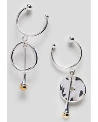 Finery London - Matlock Hoop And Drop Mismatch Earrings - Lyst