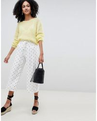 Lost Ink - Wide Leg Trousers With Corset Waist In Spot Print - Lyst
