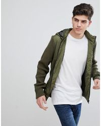 Mango - Man Puffer Jacket With Knitted Sleeves In Khaki - Lyst