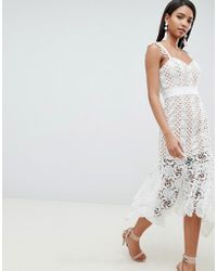 Jarlo - All Over Cutwork Lace Midi Dress In Nude - Lyst