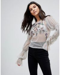 ASOS - Asos Top In Mesh With Embellishment And Sleeve Gather Detail - Lyst