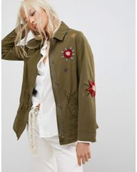 Maison Scotch - Floral Embroidered Utility Jacket - Lyst