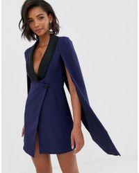 Lavish Alice - Robe cape style smoking revers contrastants en satin noir - Lyst