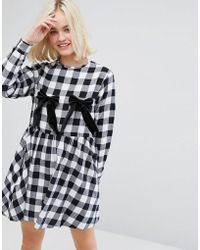 Lazy Oaf - Long Sleeve Tea Dress With Bow Nips In Check - Lyst