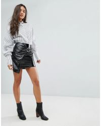 Missguided | Vinyl Buckle Detail Mini Skirt | Lyst