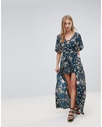 Band Of Gypsies - Floral Maxi Dress With Shorts - Lyst