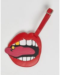 ASOS - Leather Luggage Tag In Mouth Design - Lyst