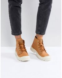 Palladium - Pampa Hi Leather Tan Flat Ankle Boots - Lyst