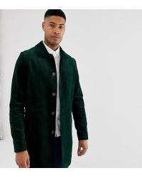 ASOS - Tall Single Breasted Trench Coat In Cord In Bottle Green - Lyst