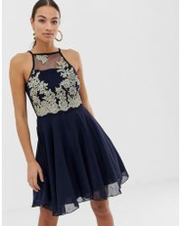 e58b1dac Lipsy Skater Dress With Lace And Sequin Top in Black - Lyst
