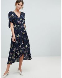 Oasis - Floral Print Ruffle Hem Wrap Midi Dress - Lyst