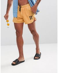 11 Degrees - Logo Swim Shorts In Yellow - Lyst