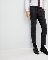 River Island - Wedding Skinny Fit Tuxedo Pants In Black Check - Lyst