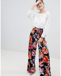 Stradivarius - Floral Trousers - Lyst