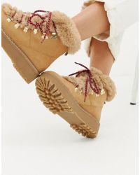 Stradivarius - Faux Fur Lined Hiker Boot - Lyst